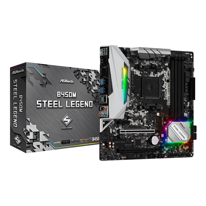 B450M Steel Legend, AMD B450 Chipset, AM4, HDMI, microATX Motherboard