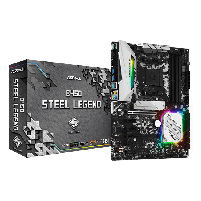 B450 Steel Legend, AMD B450 Chipset, AM4, HDMI, ATX Motherboard
