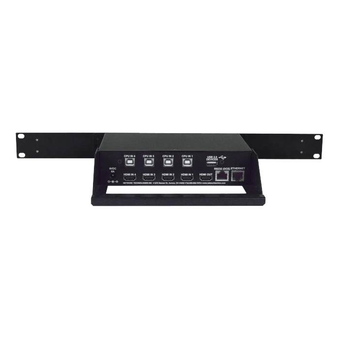 4K HDMI Quad Screen Splitter/Multiviewer with Built-In USB KVM Switch, 1RU Dual Side-by-Side Rackmount