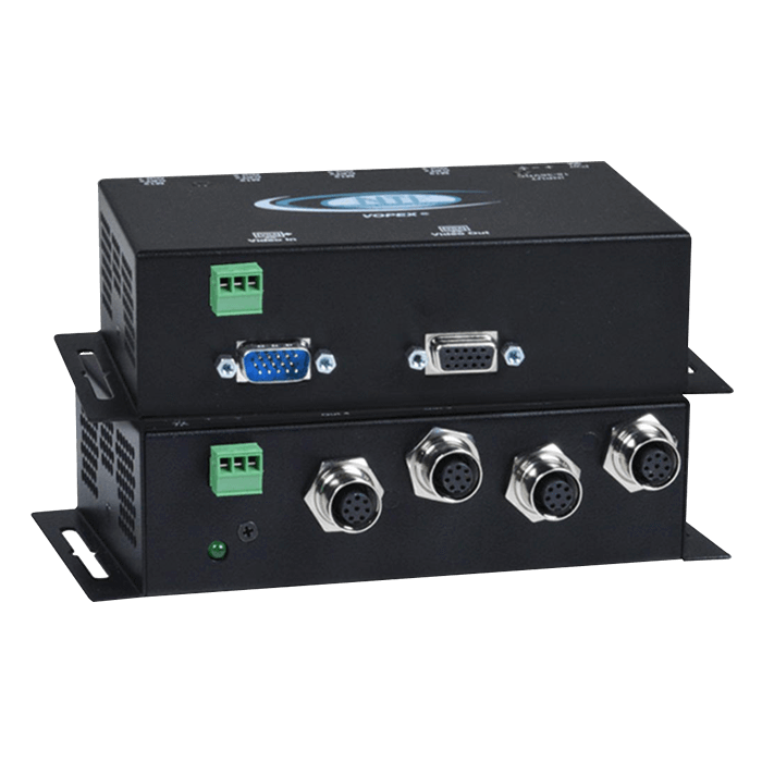 Industrial VGA Splitter/Extender with Stereo Audio via CATx with M12 Connectors to 600 feet: 4-Port