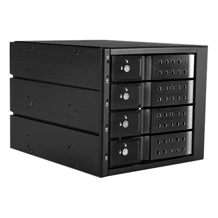 "BPN-DE340MS, Black Handle, Trayless 3x 5.25"" to 4x 3.5"", 12Gb/s HDD/SSD SFF-8643, Hot-swap Rack"
