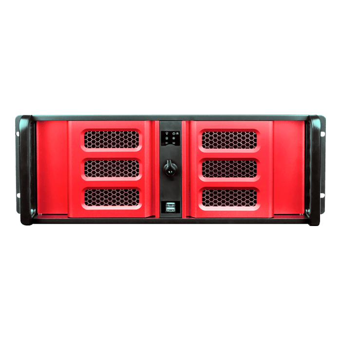 "D Storm D406SE-B6RD-RD, Red HDD Handle and Bezel, 2x 5.25"", 4x 3.5"" Drive Bays, 6x 3.5"" Hotswap Bays, No PSU, ATX, Black/Red, 4U Chassis"