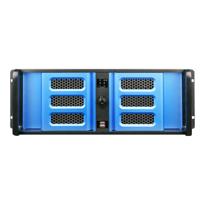 "D Storm D406SE-B6BL, Blue HDD Handle and Bezel, 2x 5.25"", 4x 3.5"" Drive Bays, 6x 3.5"" Hotswap Bays, No PSU, ATX, Black/Blue, 4U Chassis"
