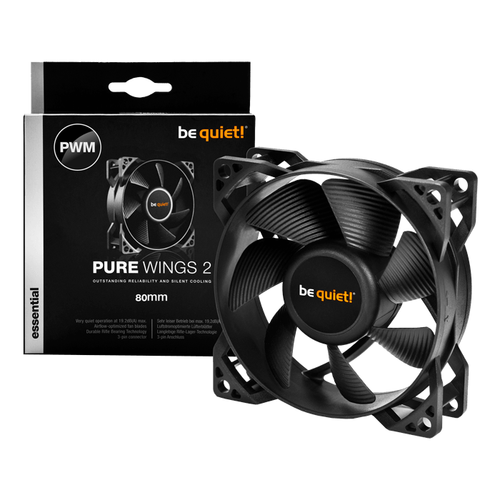 Pure Wings 2 80mm PWM, 1900 RPM, 44.45 CFM, 19.2 dBA, Cooling Fan