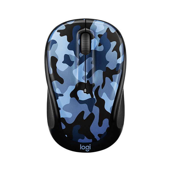M325C, 1000 dpi, Wireless 2.4GHz, Blue Camo, Optical Mouse