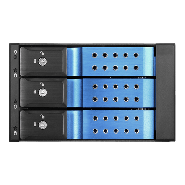 "BPN-DE230HD-BLUE Trayless 2x 5.25"" to 3x 3.5"" 12Gb/s HDD Hot-swap Rack"