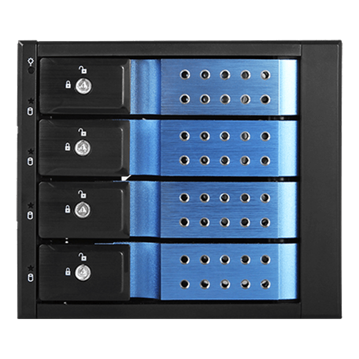 "BPN-DE340HD-BLUE Trayless 3x 5.25"" to 4x 3.5"" 12Gb/s HDD Hot-swap Rack"