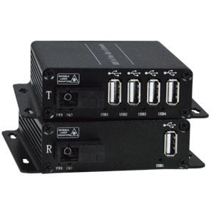 4-Port USB 2.0 Extender via Fiber Optic Cable up to 820 Feet - No Drivers Required