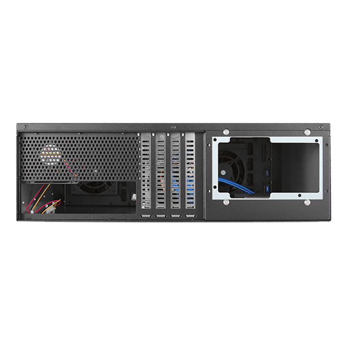 "D-380HB-SILVER, Silver HDD Handle, 8x 3.5"" Hotswap Bays, No PSU, ATX, Black/Silver, 3U Chassis"