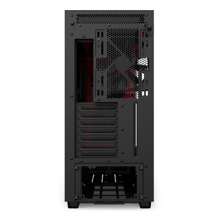 H Series H710i Tempered Glass, No PSU, E-ATX, Matte Black/Red, Mid Tower Case