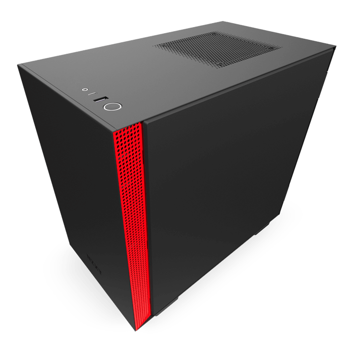 H Series H210i Tempered Glass, No PSU, Mini-ITX, Matte Black/Red, Mini Tower Case