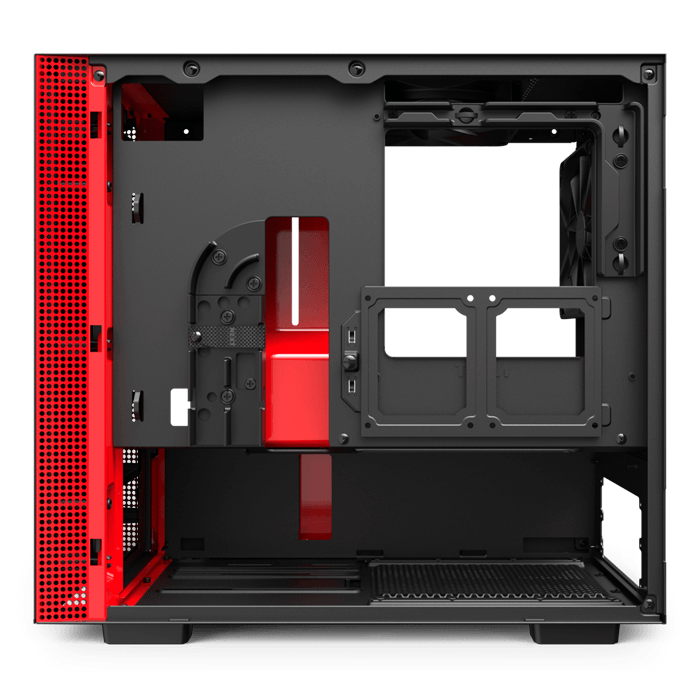 H Series H210 Tempered Glass, No PSU, Mini-ITX, Matte Black/Red, Mini Tower Case