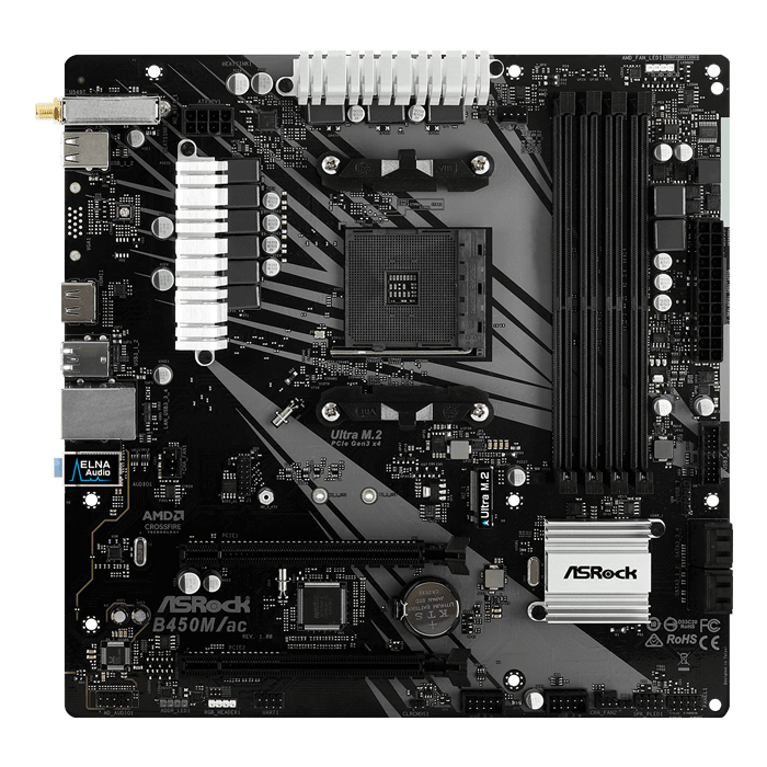 B450M/ac, AMD B450 Chipset, AM4, HDMI, microATX Motherboard