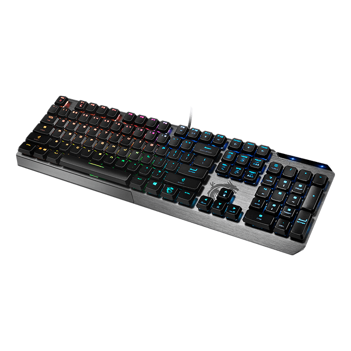 VIGOR GK50 LP, RGB Kailh Low Profile Switches, Wired USB, Black/Grey, Mechanical Gaming Keyboard