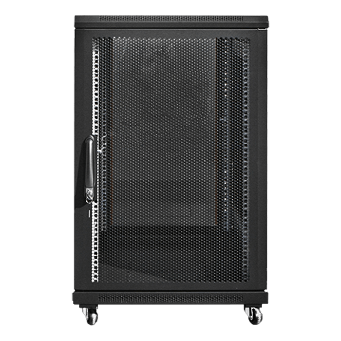 WNG1810-SFH25DWR4UB 18U 1000mm Depth Rack-mount Server Cabinet with 1U Supporting Tray and 4U Sliding Drawer with Key Lock