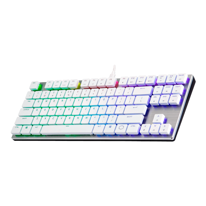 SK630, RGB LED, Cherry MX RGB Low Profile Switch, Wired USB, Silver/White, Mechanical Gaming Keyboard