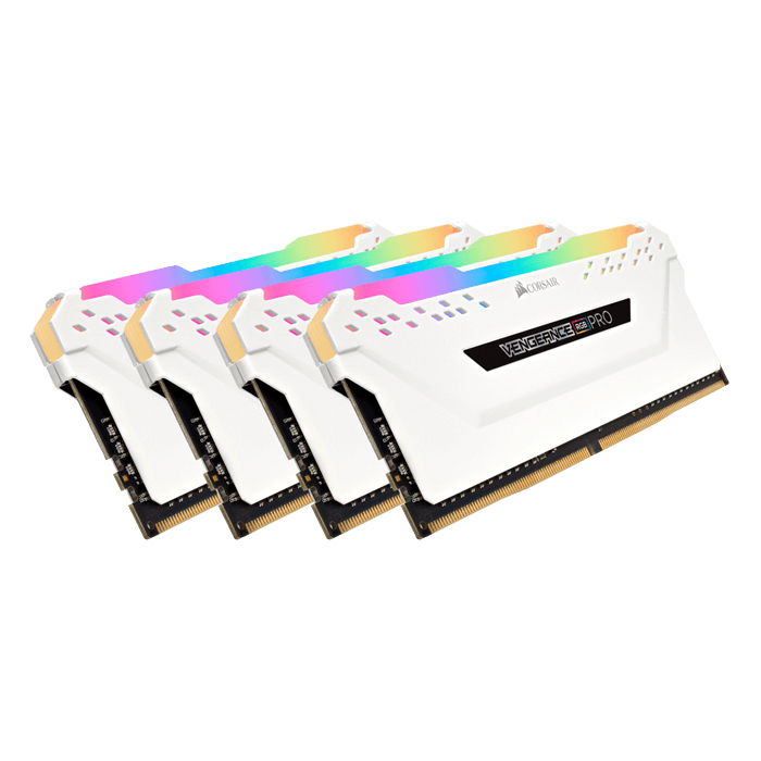 64GB Kit (4 x 16GB) Vengeance RGB Pro DDR4 3200MHz, CL16, White, RGB LED, DIMM Memory