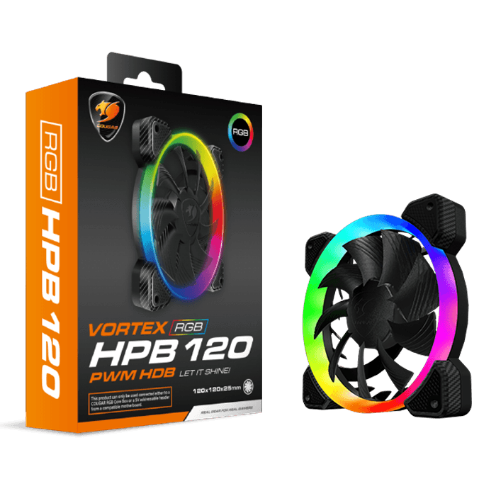VORTEX RGB HPB 120 PWM HDB 120mm, 1500 RPM, 43.54 CFM, 26 dBA, Cooling Fan