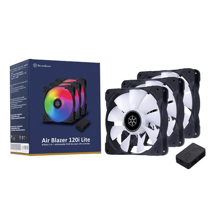 Air Blazer 120i Lite ARGB w/ Controller, 3 x 120mm, 1200 RPM, 37.5 CFM, 24 dBA, Cooling Fan