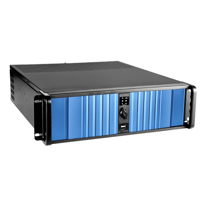 "D Storm D-300SEA-BL-RAIL24, Blue Bezel, 4x 5.25"", 3x 3.5"" Drive Bays, w/ 20"" Sliding Rail Kit, No PSU, ATX, Black, 3U Chassis"