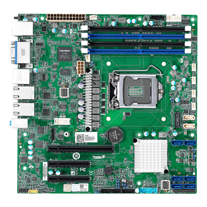 Tempest CX S5550 (S5550AGM4NR-EX), Intel C246, LGA 1151, DDR4-2666 128GB ECC UDIMM / 4, SATADOM / 2, Display Port / 2, GbLAN / 4, microATX Retail