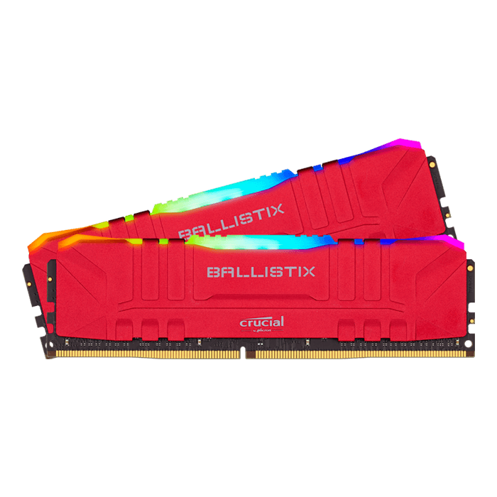 16GB Kit (2 x 8GB) Ballistix RGB DDR4 3600MHz, CL16, Red, DIMM Memory