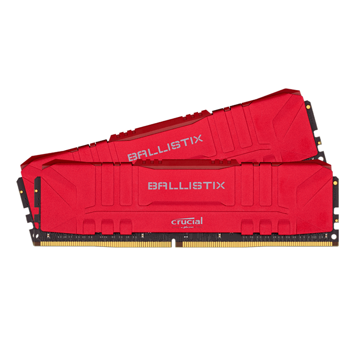 16GB Kit (2 x 8GB) Ballistix DDR4 2666MHz, CL16, Red, DIMM Memory