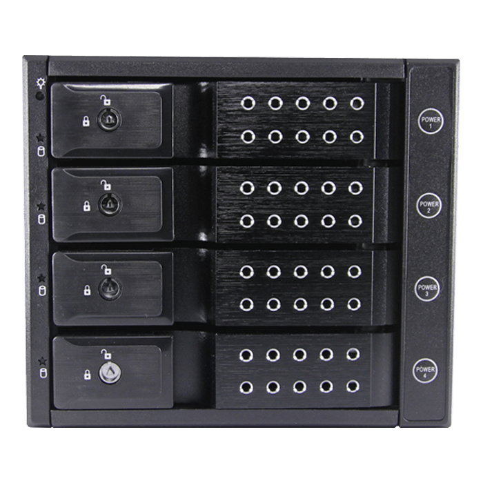 "BPN-DE340P-BLACK, Trayless 3x 5.25"" to 4x 3.5"", SAS/SATA 12Gb/s, HDD, Black Hot-swap Rack w/ Independent HDD Power Switch"
