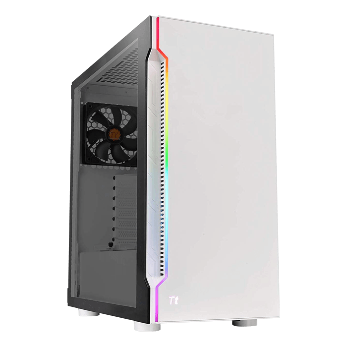 H200 Snow RGB Tempered Glass, No PSU, ATX, White, Mid Tower Case