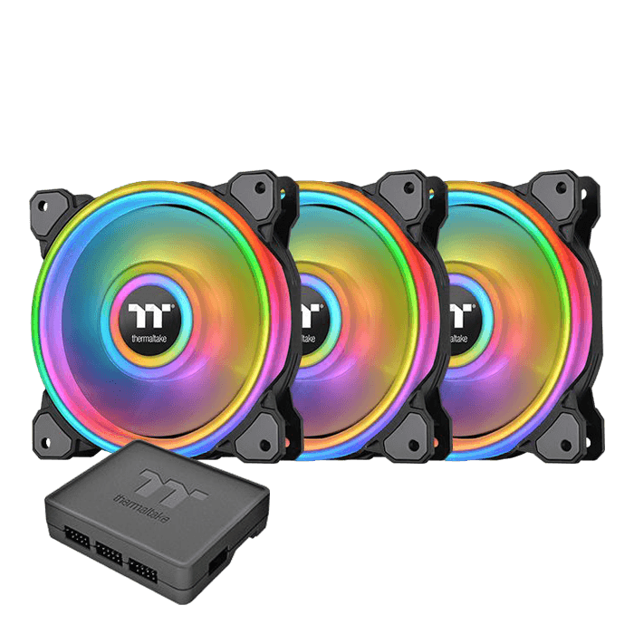 Riing Quad 12 RGB Radiator Fan TT Premium Edition 3 x 120mm, w/ Controller, 1500 RPM, 40.9 CFM, 25 dBA, Cooling Fan