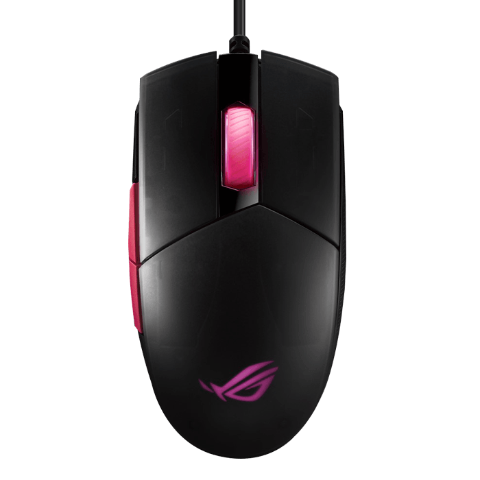 ROG Strix Impact II Electro Punk, RGB LED, 6200dpi, Wired USB, Black/Pink, Optical Gaming Mouse