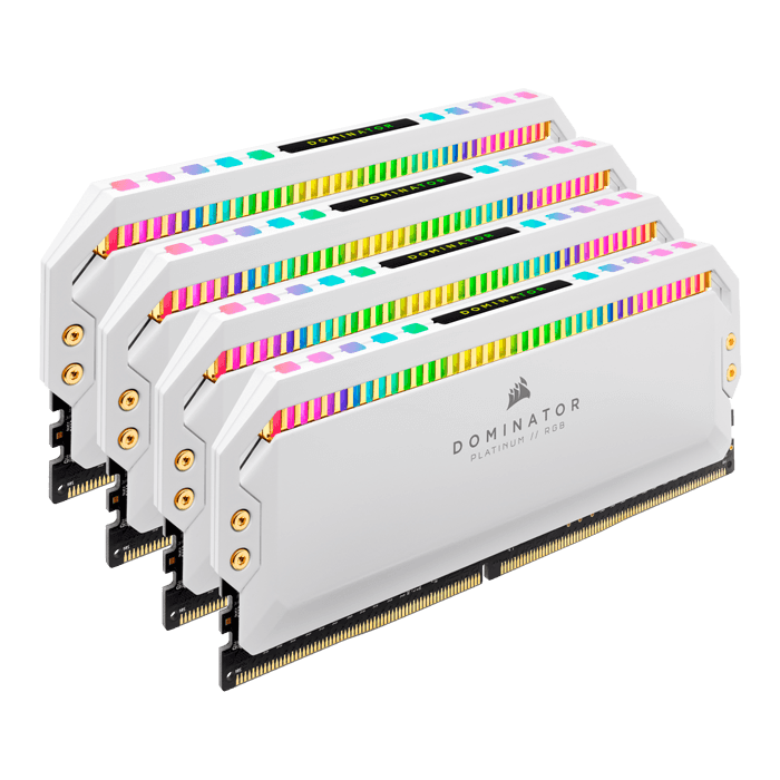 32GB Kit (4 x 8GB) Dominator Platinum RGB DDR4 4000MHz, CL19, White, RGB LED, DIMM Memory