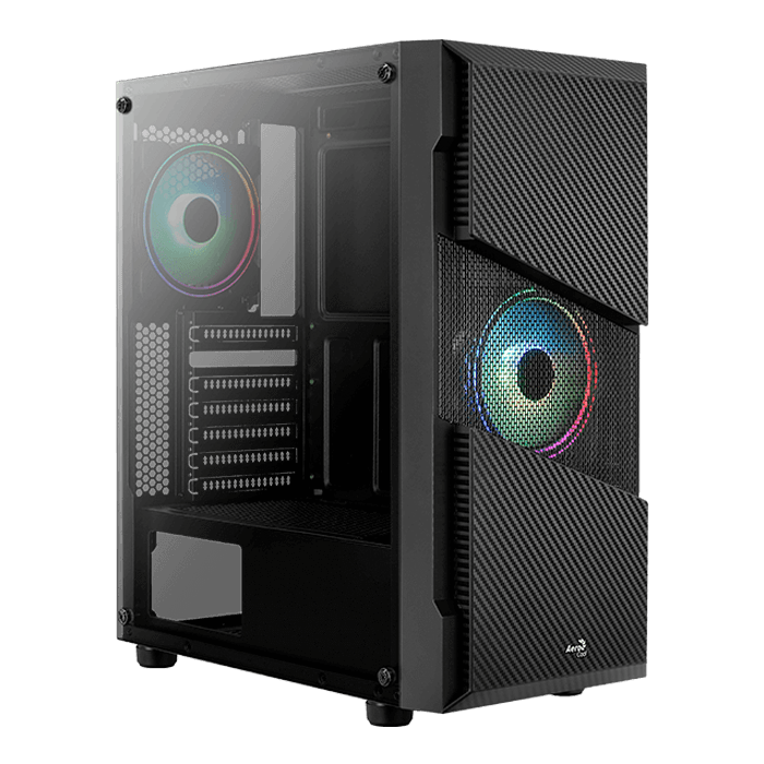 Menace Saturn RGB Tempered Glass, No PSU, ATX, Black, Mid Tower Case