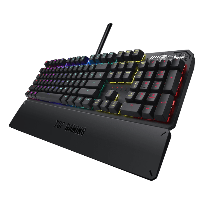 TUF Gaming K3, RGB LED, Mechanical Switches, Wired USB, Grey, Gaming Keyboard