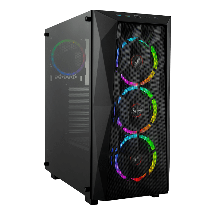 SPECTRA X, Tempered Glass, No PSU, ATX, Black, Mid Tower Case