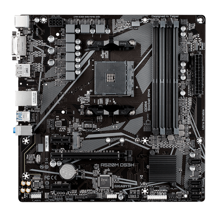 A520M DS3H, AMD A520 Chipset, AM4, DP, microATX Motherboard