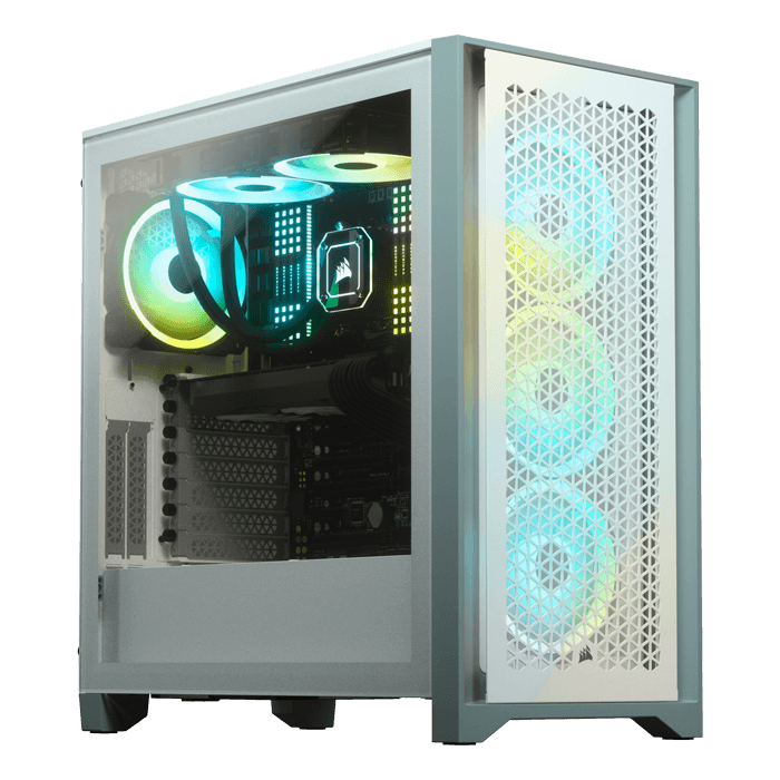 4000D AIRFLOW Tempered Glass, No PSU, E-ATX, White, Mid Tower Case