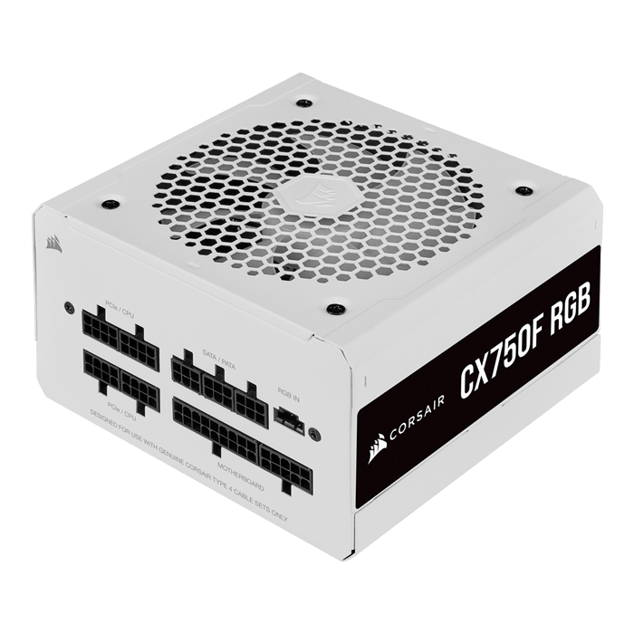 CX750F RGB White, 80 PLUS Bronze 750W, Fully Modular, ATX Power Supply