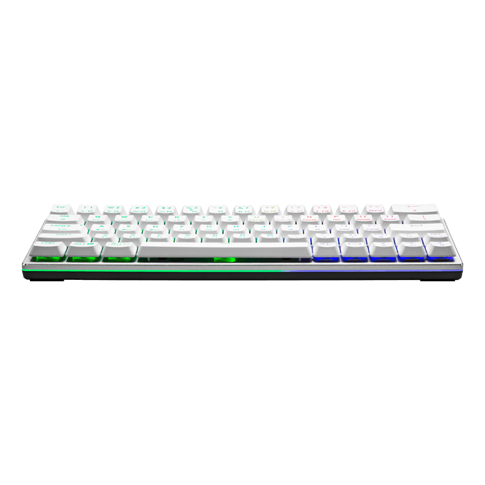 SK622, RGB LED, Blue LP Switches, Wired USB/Wireless BT, White/Silver, Mechanical Gaming Keyboard