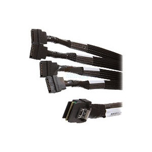 SFF-8087 Molex iPass Mini-SAS to 4x SAS/SATA Cable, 4-ports, 1m