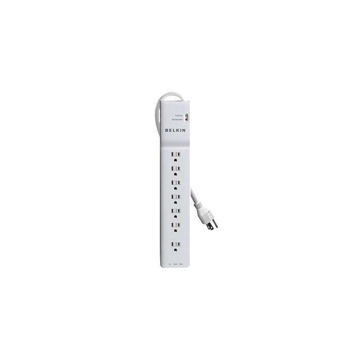 BE107200-06, 7 Outlets, 6-ft cord, 125V/15A, White, Surge Protector