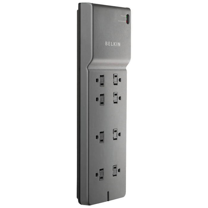 BE108200-06, 8 Outlets, 6-ft cord, 125V/15A, Grey, Surge Protector