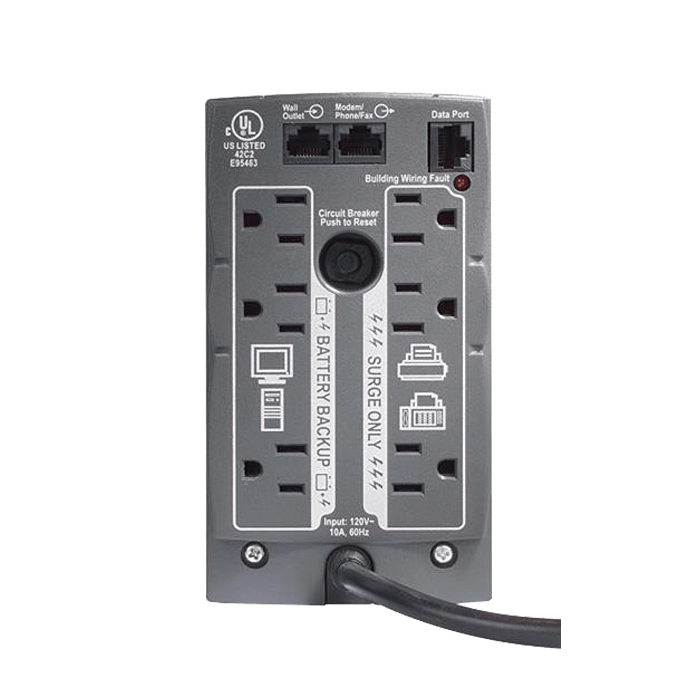 Back-UPS 500, 500VA/300W, 120V, 6 Outlets, Black, Tower UPS