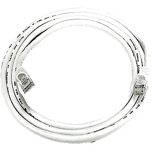 CAT5 Cable, Male to Male, White, 10 feet