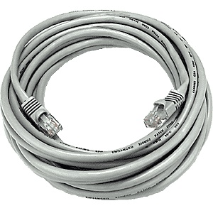 CAT5 Cable, Male to Male, Gray, 50 feet
