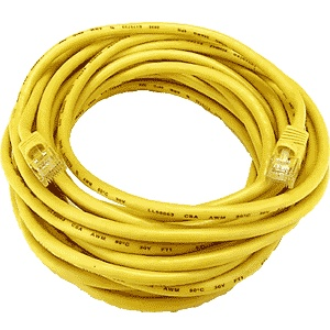 CAT5 Cable, Male to Male, Yellow, 50 feet