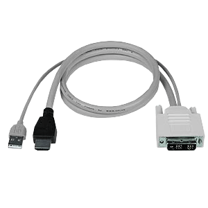 DVI-D Male + USB Type A Male to HDMI-A Male Interface Cable, 15 ft