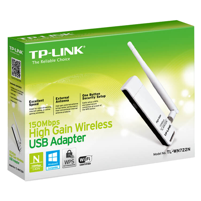 TL-WN722N, External, 2.4GHz, 150 Mbps, USB, Wireless Adapter
