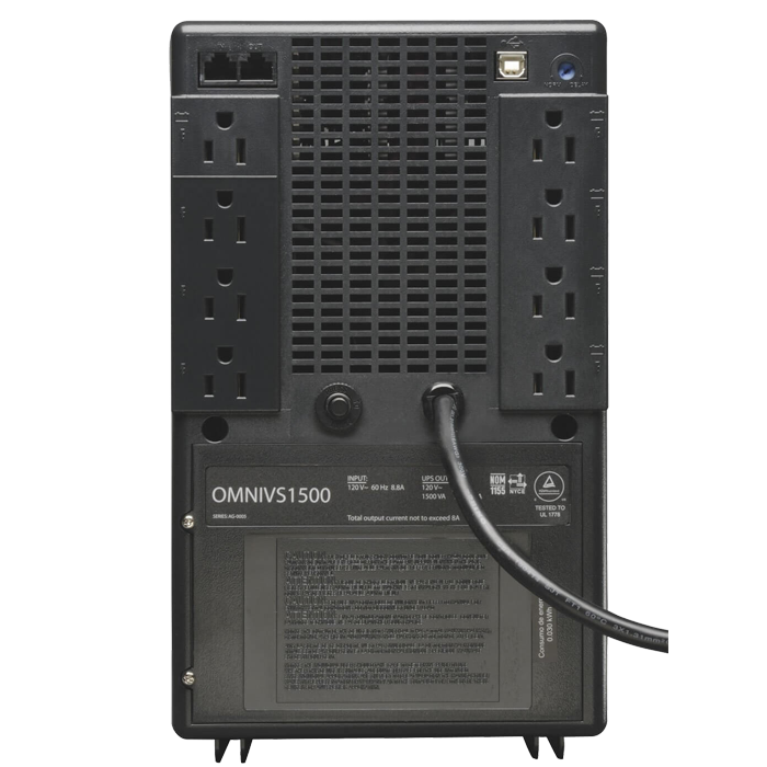 OmniVS OMNIVS1500, 1500VA/940W, 120V, 8 Outlets, Black, Tower UPS