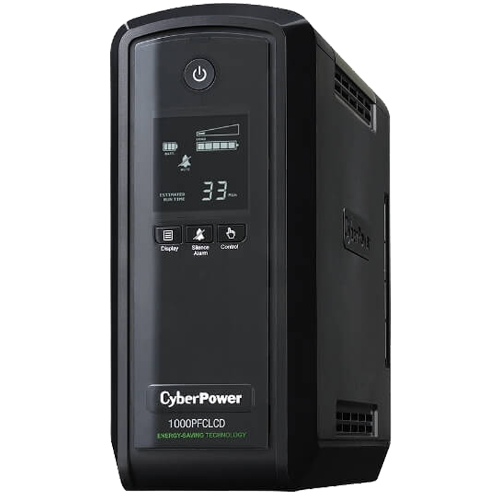 PFC Sinewave CP1000PFCLCD, 1000VA/600W, 120V, 10 Outlets, Black, Tower UPS